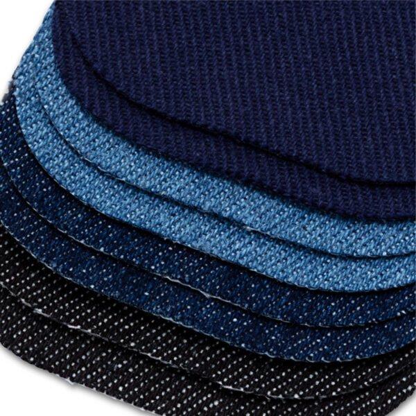 Små laglappar i jeans fyra olika färger