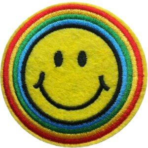 Smiley Regnbåge Strykmärke