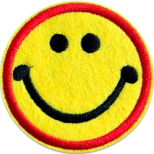 smiley röd ring tygmärke