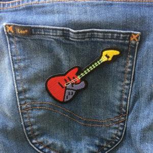 Röd elgitarr - Applikation - Stryka på