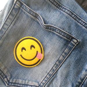Roligt tygmärke - Tunga - Smile