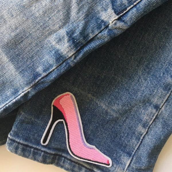 Rosa Högklackade skor - Patch - Applikation - tygmärke