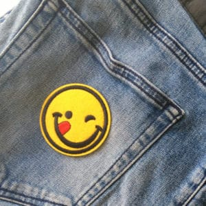 Glad Smiley - Tygmärke för barn (patch)
