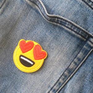 Smiley Hjärta - tygmärke - Roligt tygmärke