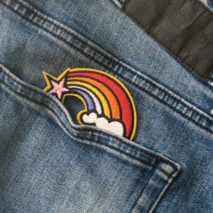Regnbåge - applikation - tygmärke - jeans