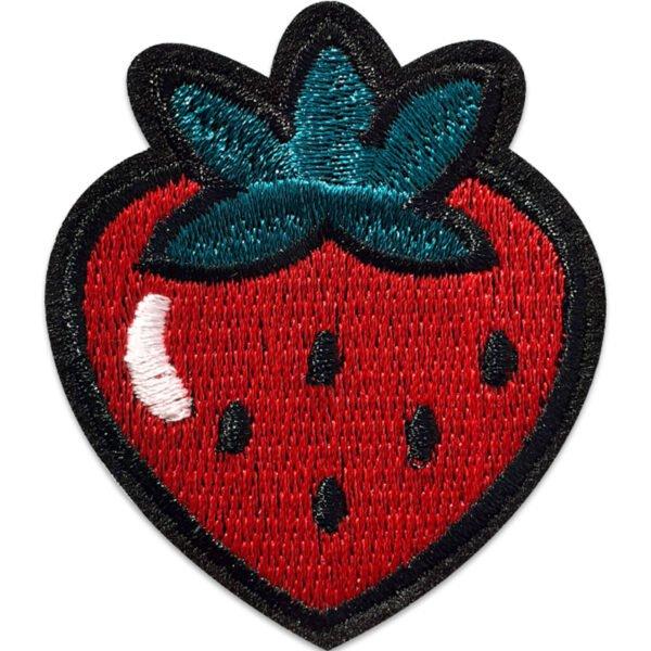 söt jordgubbe - tygmärke - stryks på