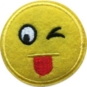 emoji wink | stryks på | tygmärke