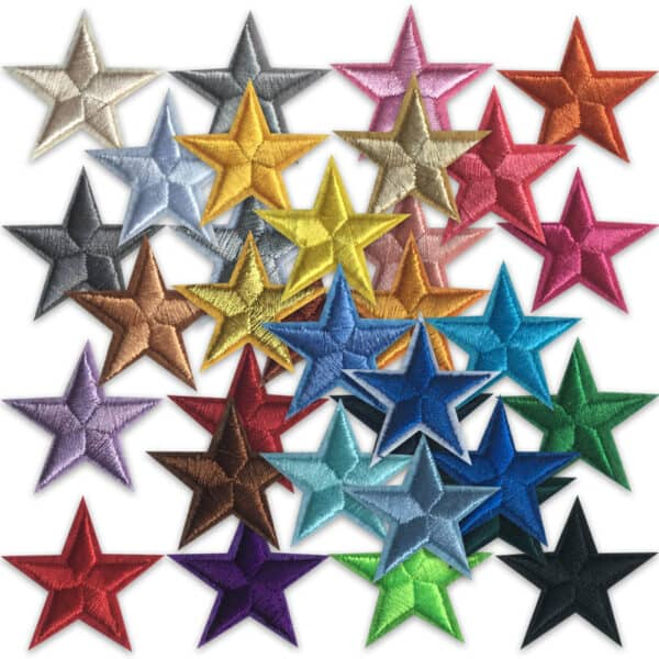 Broderade stjärnor - tygmärken