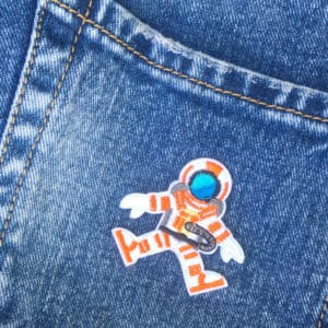 Orange dykare - Tygmärke - Jeans - Patches