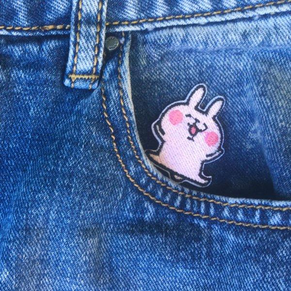 Hoppande kanin - Rosa - Tygmärke