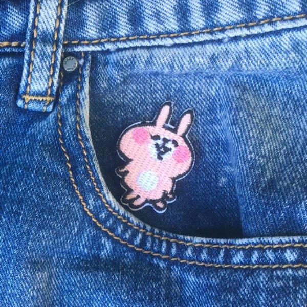 Kanin med vit mage - Tygmärke - Rosa