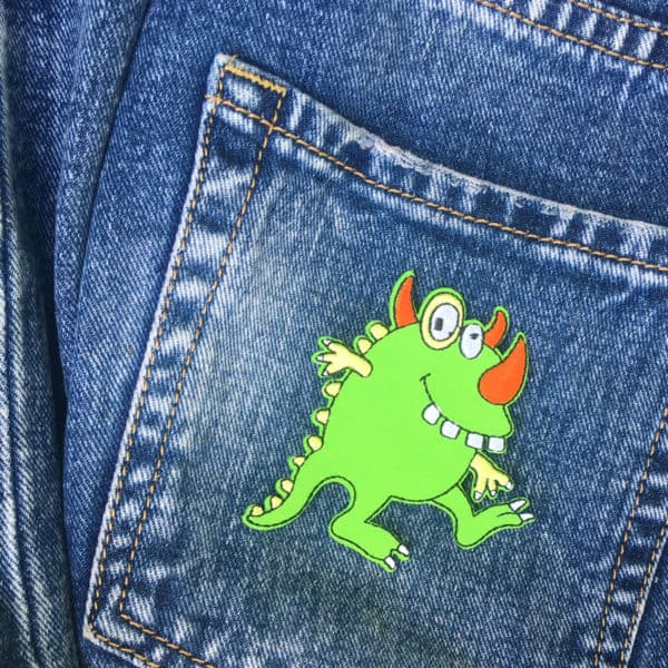 Tygmärke på Jeans - Grönt monster - Patches