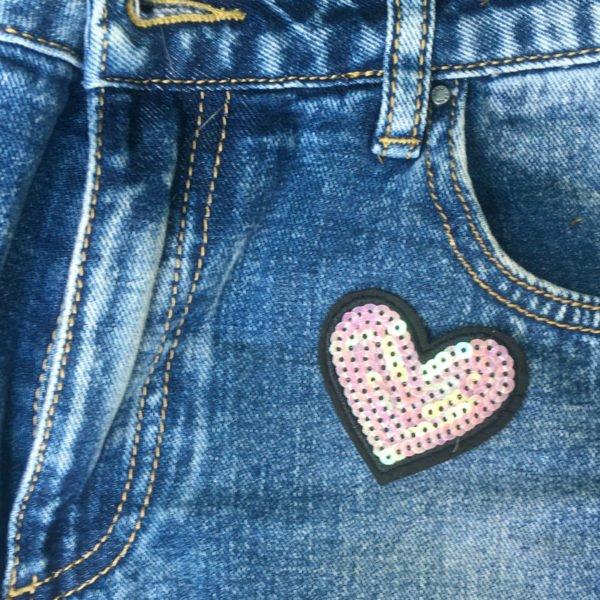 Hjärta paljetter jeans - tygmärke