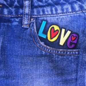 Love på jeans - Tygmärke Patch