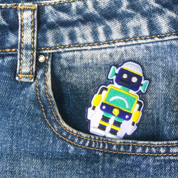 Blå grön robot - Tygmärke
