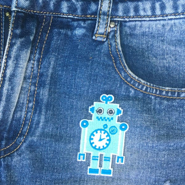 Ljusblå Robot på Jeans - Patch - Tygmärke