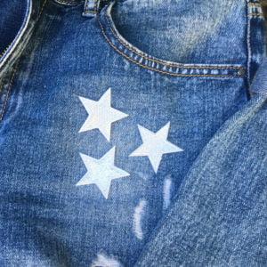 tre sjärnor silver jeans - tygmärke