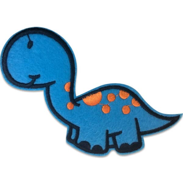 söt blå dinosaurie tygmärke