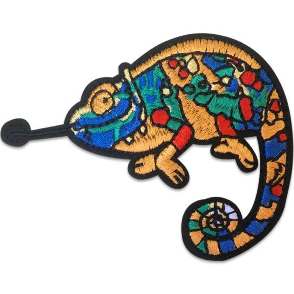 Färgglad Kameleont - Tygmärke - Patch