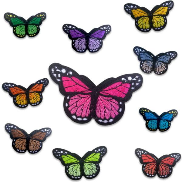 Samling broderade fjärilar i flera färger - tygmärken - stryka på
