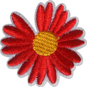 Röd Gerbera - Tygmärke