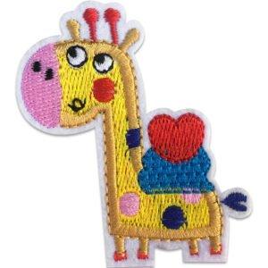 Giraff med hjärta på ryggen - tygmärke