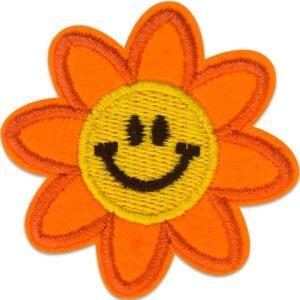 Glad Orange blomma - tygmärke - patch