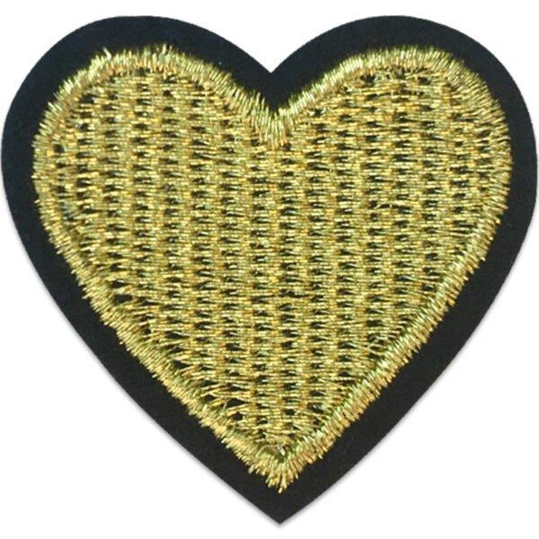 Guldhjärta Svart kant - Tygmärke