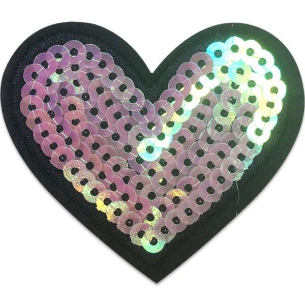 Hjärta paljetter - tygmärke