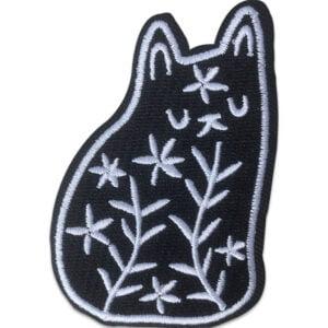 svart katt mönster tygmärke