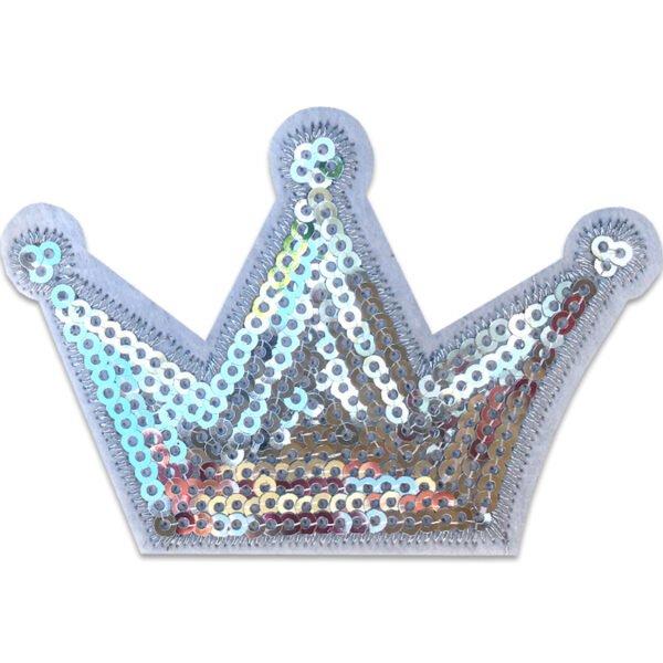 Krona Silverpaljetter - tygmärke