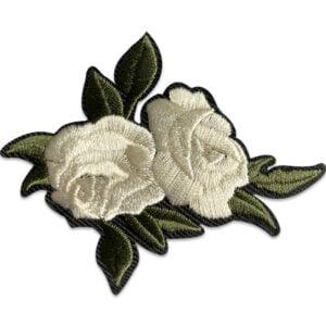 ljusgrå ros gröna blad - tygmärke