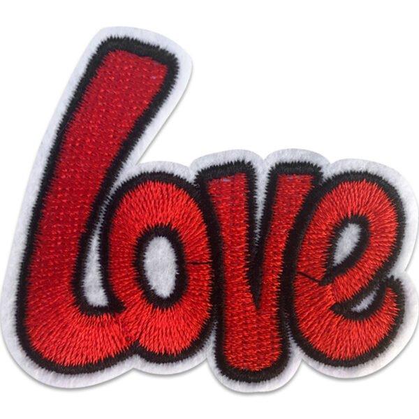 Textmotiv Love röd - Tygmärke
