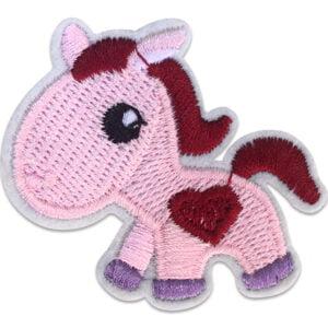 Rosa pony hjärta - tygmärke