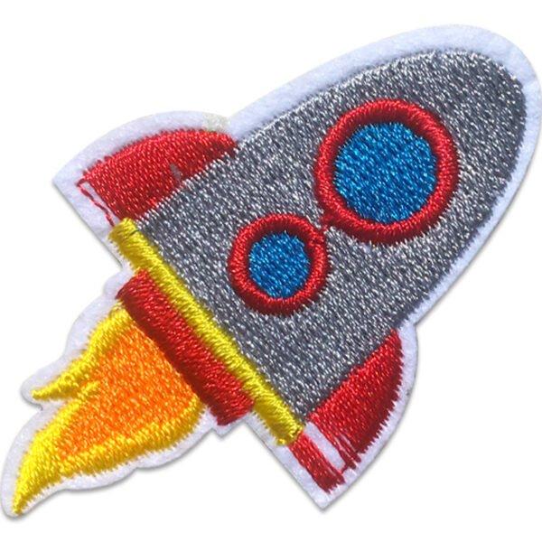 Grå Raket Flyger - Tygmärke
