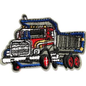 lastbil röd blå tygmärke