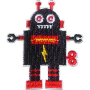 Broderat tygmärke - Svart Robot