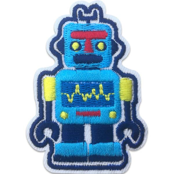 Blå robot - display på mage - tygmärke