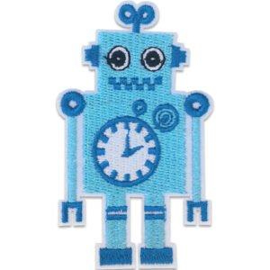 Ljusblå Robot - Patch - Tygmärke