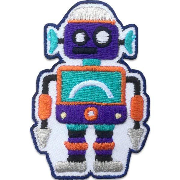 Lila Robot gröna öron - Tygmärke