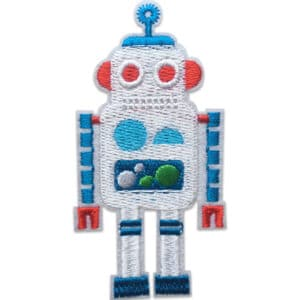 Vit Robot Röda Öron - Tygmärke