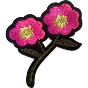 Rosa blommor - tygmärke