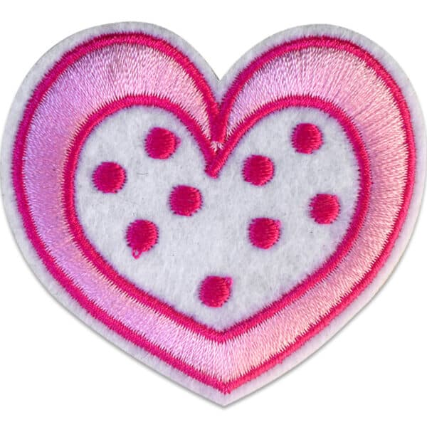 Rosa Hjärta Prickar - Broderat tygmärke