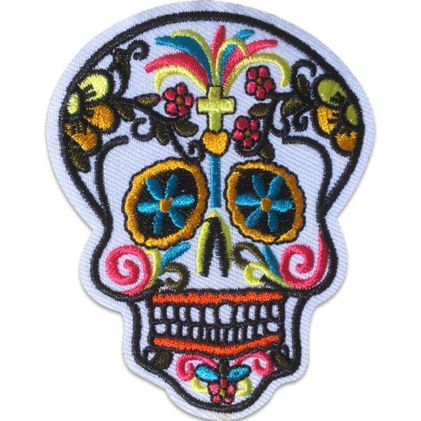 Sugar Skull - Tygmärke - Kors i Pannan