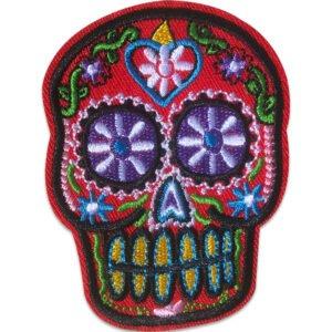 Mexikansk Dödskalle - Tygmärke - Blått hjärta