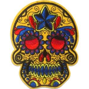 Stor Sugar Skull - Tygmärke - Blå Stjärna