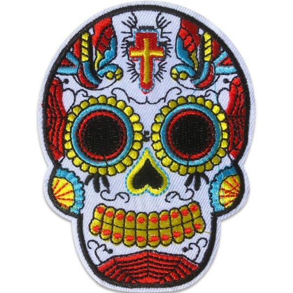 Sugar Skull - Tygmärke - Gult Kors