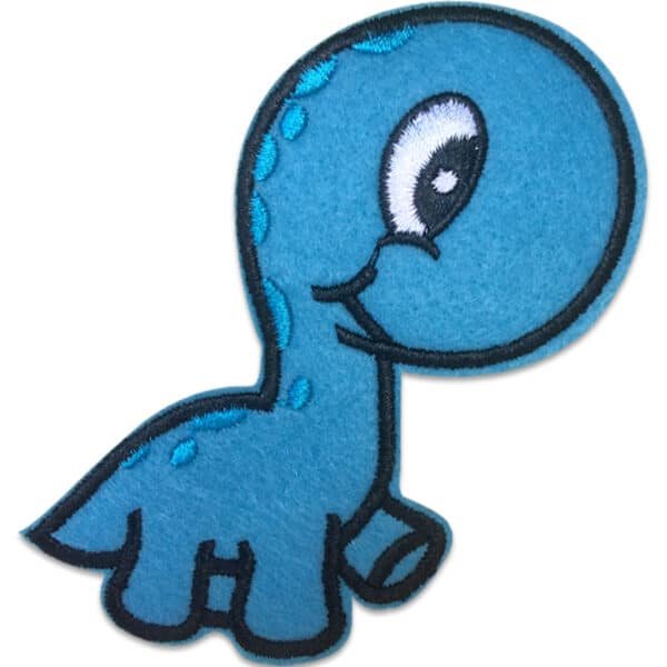 Vandrande Dino blå prickar - tygmärke