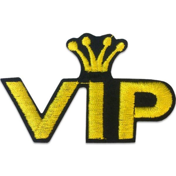 VIP Kungakrona - Tygmärke - Guldfärgad tråd - Patch