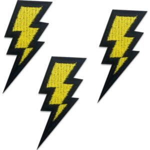 Varning Högspänning - Blixtar - Tygmärken - Patch